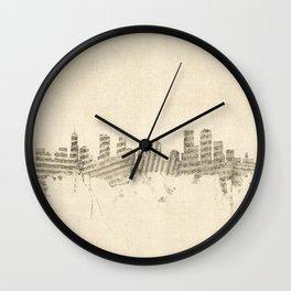 Denver Colorado Skyline Sheet Music Cityscape Wall Clock