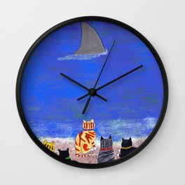 Cats on the Beach Wall Clock