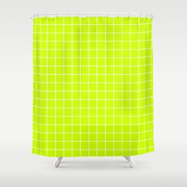 Volt - green color - White Lines Grid Pattern Shower Curtain