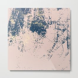 Patina pink navy gold Metal Print