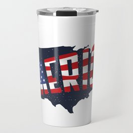 4th Of July Independence Day American Flag & Map Travel Mug