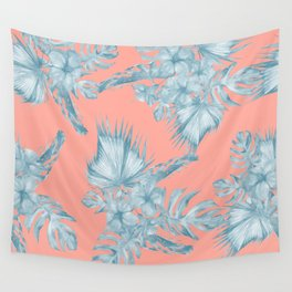 Dreaming of Hawaii Pale Teal Blue on Coral Pink Wall Tapestry