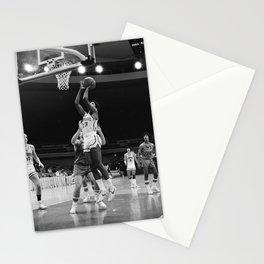 Barack Obama plays basketball for the Punahou School basketball team Stationery Cards