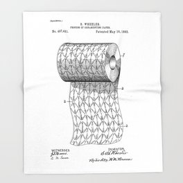 patent art Wheeler Process of ornamenting paper 1893 Throw Blanket
