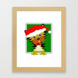 Christmas Yorkshire Terrier Cartoon Framed Art Print