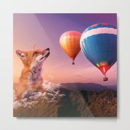 Dreamy fox in the sunset Metal Print