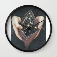 wallet Wall Clocks featuring space nebula by marzesu collages