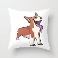 corgi Throw Pillows featuring Corgi by Suzanne Annaars