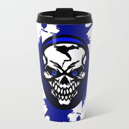 Blue skull logo Travel Mug