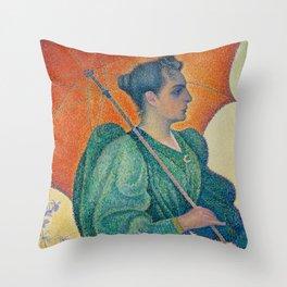 Paul Signac, 1893, Femme à l'ombrelle Throw Pillow