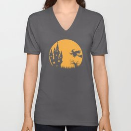 Halloween Witches Witch On Witches Broom Walpurgis Unisex V-Neck