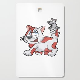 RED WHITE CAT AND MOUSE best friends love gift Cutting Board