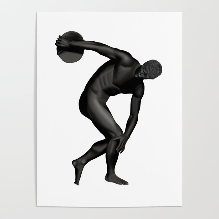 Man Statue in Black Poster