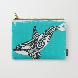 Orca Killer Whale Teal Tribal Tattoo Carry-All Pouch