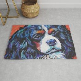 Fun Cavalier King Charles Spaniel Dog bright colorful Pop Art by LEA Rug