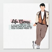 ferris bueller Canvas Prints featuring Ferris Bueller Graphic (with quote) by jes.e