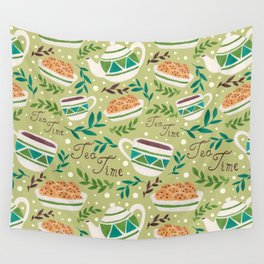 Tea Time Pattern Wall Tapestry
