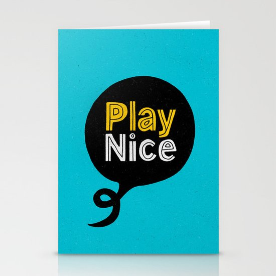 Play Nice blue black and yellow inspirational typography poster bedroom wall home decor by themotivatedtype