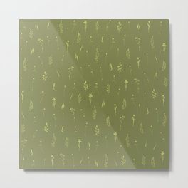 Wildflowers IV - Fern Green Metal Print