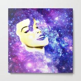 Galaxy Lady Bright Purple Blue Metal Print