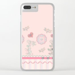 Buttons and Bows Border Print Clear iPhone Case