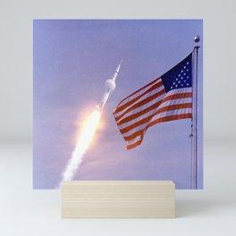Nasa Picture 3: Apollo 11 Launcher and the flag of the USA Mini Art Print
