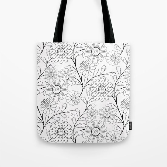 .Floral pattern on a white background. Tote Bag