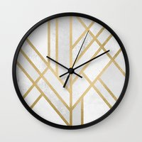 deco Wall Clocks featuring Art Deco Geometry 2 by Elisabeth Fredriksson