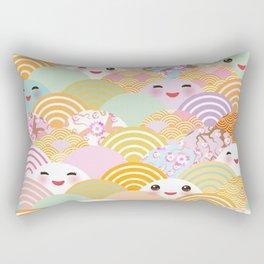 seamless pattern Kawaii with pink cheeks and winking eyes with japanese sakura flower Rectangular Pillow