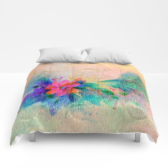Soft Colorful Pastel Shaded Floral Abstract Comforters