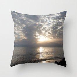 Watercolor Sunset, Cape Breton 09, Nova Scotia, Canada Throw Pillow