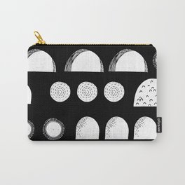 Linocut black and white minimal shapes half moons mounds abstract Carry-All Pouch