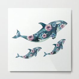 Rose Garden Whales Metal Print