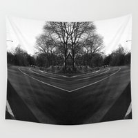 central park Wall Tapestries featuring Central Park by Claudia Araujo