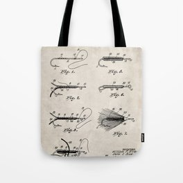 Fly Fishing Patent - Fisherman Art - Antique Tote Bag