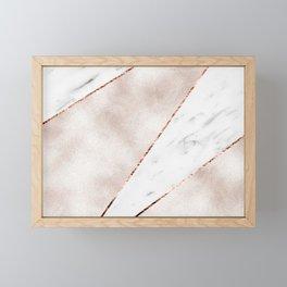 Spliced rose gold marble Framed Mini Art Print