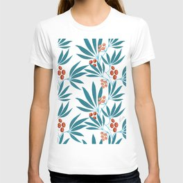 Turquoise long leaves and orange berries T-shirt