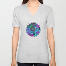 Rivalry of Flowers - green & lilac Unisex V-Neck