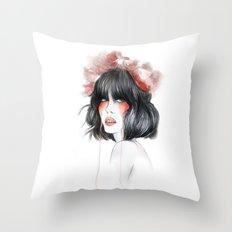 Flower Crown // Fashion Illustration Throw Pillow