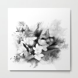 Butterflies and Frangipani in black and white Metal Print