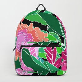 Bird of Paradise + Ginger Tropical Floral in Black Backpack