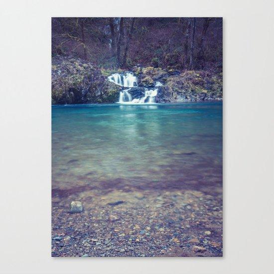 Teal Blue Waterfall Cove Canvas Print