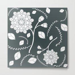 Gray Flying Flowers Metal Print