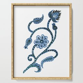 Blue Paisley Doodle-right facing Serving Tray