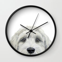 Labradoodle white by miart Wall Clock