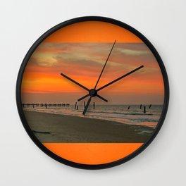 Sunset on Happisburgh Beach Wall Clock