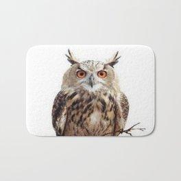 WILDERNESS BROWN OWL IN WHITE Bath Mat