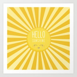 KAWAII SKY - happy smiling sun - hello sunshine quote Art Print