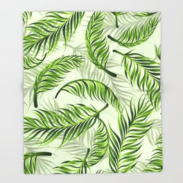 Trendy exotic floral pattern with palm leaves Throw Blanket