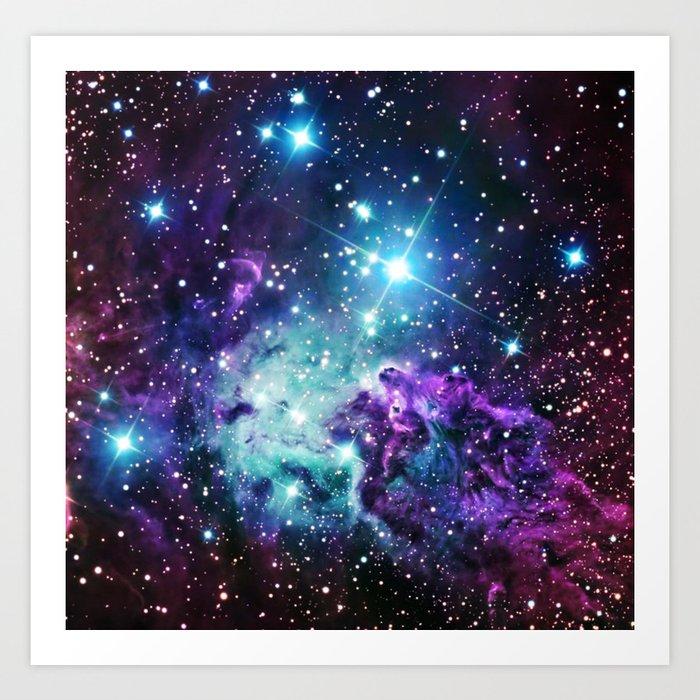 Fox Fur Nebula : Purple Teal Galaxy Kunstdrucke